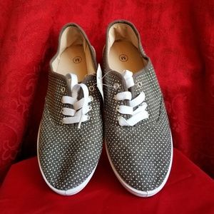 Shoes - NEW! Grey Canvas Laced Sneaker w/White Polka Dots